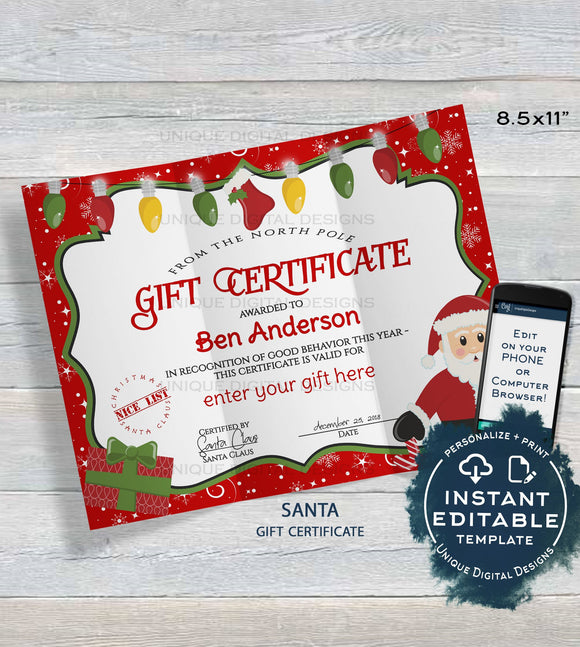 Gift Certificate Template, Editable Gift Certificate from Santa, Custom Santa Letter, Last Minute Christmas Gift Printable, INSTANT DOWNLOAD