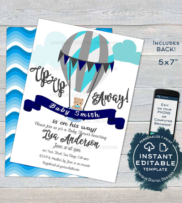 Hot Air Balloon Invitation, Editable Up Up and Away Invite, New Adventures Baby Shower, New Baby Boy Balloon Printable INSTANT DOWNLOAD 5x7