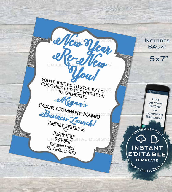 Editable Skincare Printable Invitation, Rodan and Business Launch Party BBL Invite, R F Renew your skin New Years Glitter