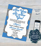 Editable Skincare Printable Invitation, Rodan and Business Launch Party BBL Invite, R F Renew your skin New Years Glitter INSTANT DOWNLOAD