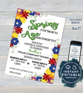 Rodan Business Invitation, Editable Business Launch Party, Spring BBL Invite R F Spring Forward Age Backward Wine Cheese Printable
