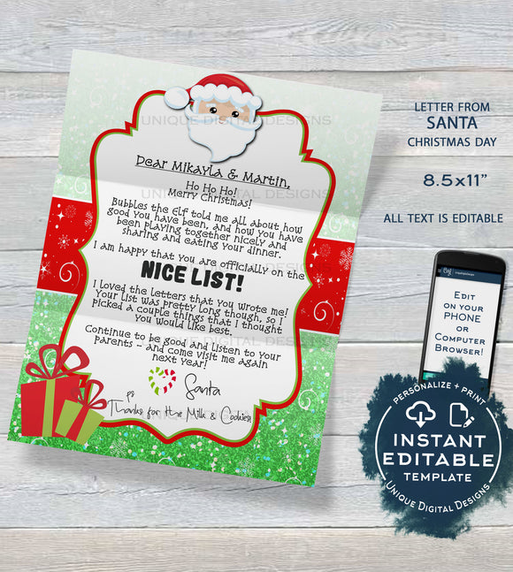 Editable Letter from Santa Printable, Elf Goodbye Letter, Custom Santa Letter, North Pole Christmas Day Letter
