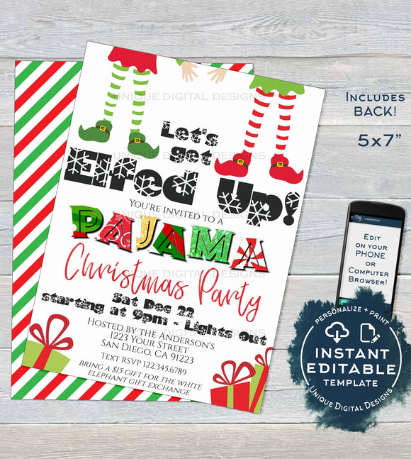 Editable Christmas Pajama Party Invitations, Adult Christmas Invite, Lets get Elfed Up, Let's get Lit PJs Holiday Printable INSTANT DOWNLOAD