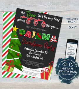 Christmas Pajama Party Invitations, Adult Christmas Invite, Editable Tree isn't only thing getting Lit, Holiday Printable