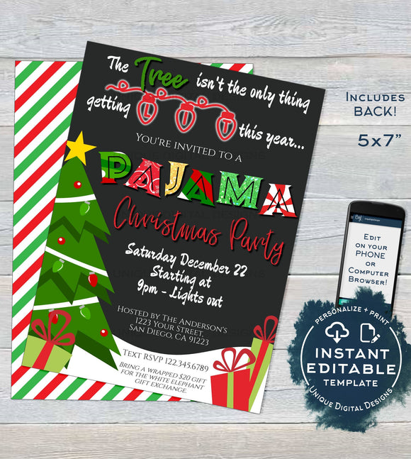 Christmas Pajama Party Invitations, Adult Christmas Invite, Editable Tree isn't only thing getting Lit, Holiday Printable INSTANT ACCESS