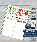 Editable Christmas Elf Gender Reveal Party Cast your Vote Sign, He or She Gender Reveal Vote Board Printable