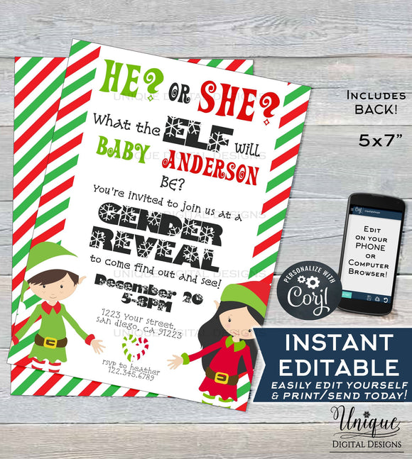 Christmas Gender Reveal Invitation, Editable Christmas Elf Party Invite, Winter Baby Reveal Holiday Party Printable INSTANT ACCESS 5x7