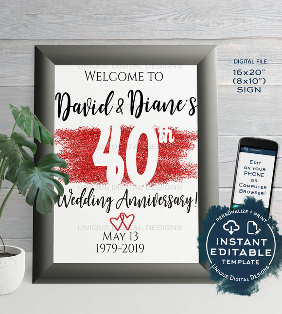 40th Anniversary Welcome Sign, ANY Year, Editable Wedding Anniversary Sign Decor Ruby Glitter Printable Template INSTANT DOWNLOAD 16x20 8x10