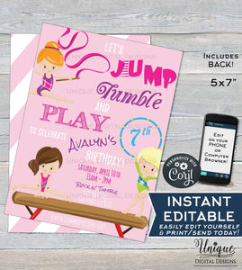 gymnastics invitation jump tumble and play girls birthday invite let