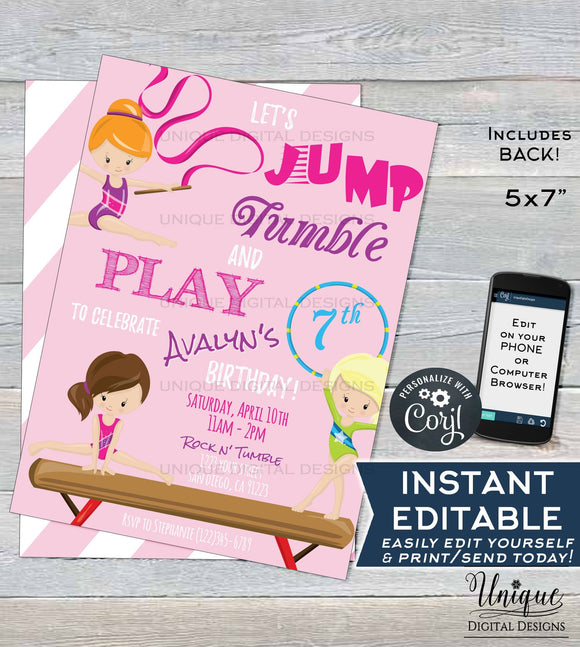 Gymnastics Invitation, Jump Tumble and Play Girls Birthday Invite, Let's Tumble, ANY Age Custom Printable Template INSTANT EDITABLE 5x7