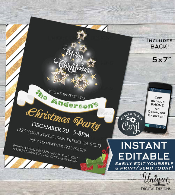 Editable Christmas Party Invitation, Merry Christmas Party Invite, White Elephant Exchange Holiday Template Printable INSTANT ACCESS 5x7