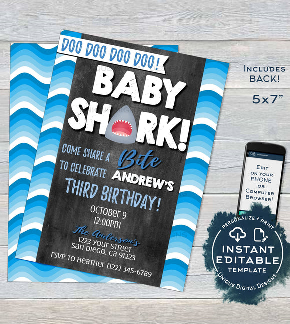 Baby Shark Birthday Invitation, Editable Boy Baby Shark doo doo doo, Shark Bite Invite Shark Week Party Printable