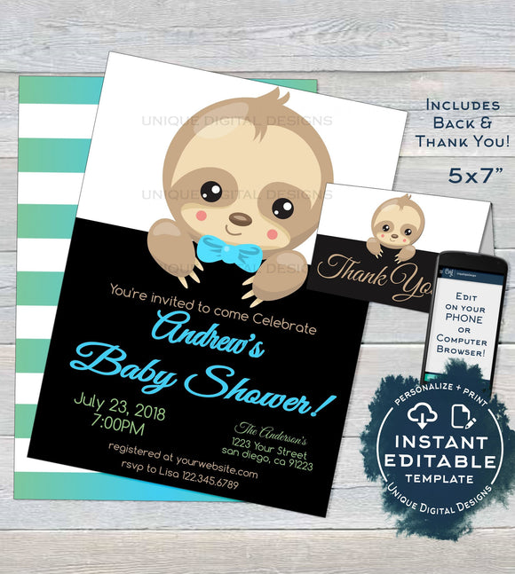 Sloth Baby Shower Invitation, Editable Boys Sloth Baby Shower Invite, Slow Down Baby Sloth, Custom Printable Template INSTANT DOWNLOAD 5x7