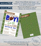 Football Baby Shower Invitations, Editable Baby Sprinkle Baby Boy Invite, Kick Off Its a Boy, Touchdown Template Printable INSTANT ACCESS