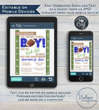 Football Baby Shower Invitations, Editable Baby Sprinkle Baby Boy Invite, Kick Off Its a Boy, Touchdown Template Printable INSTANT DOWNLOAD