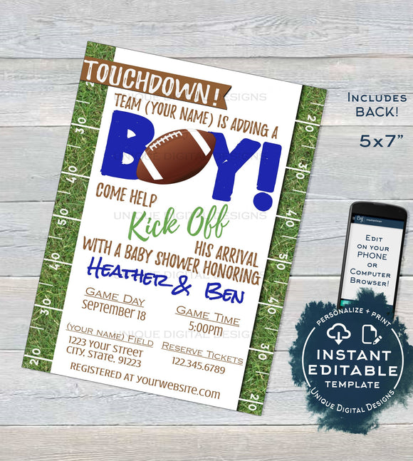 Football Baby Shower Invitations, Editable Baby Sprinkle Baby Boy Invite, Kick Off Its a Boy, Touchdown  Printable