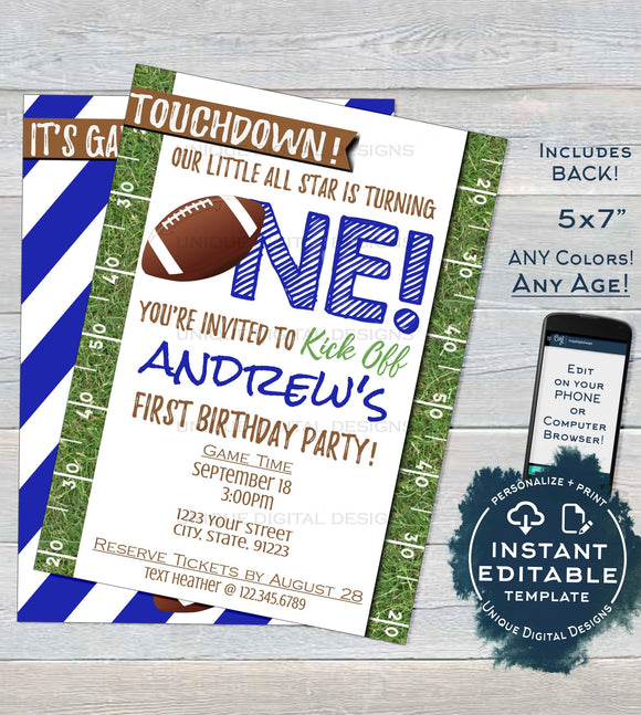 Editable Football Birthday Invitation, First Birthday Invite, Game Time Touchdown Football One Template Custom Printable INSTANT ACCESS