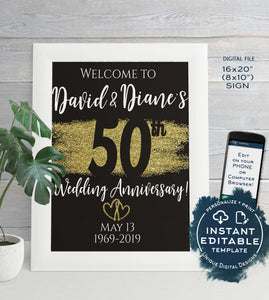 50th Anniversary Welcome Sign, ANY Year, Editable Wedding Anniversary Sign Decoration Black Gold Glitter Printable