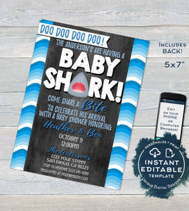 Baby Shark Baby Shower Invitation, Editable Boy Baby Shark doo doo Shark Bite Invite, Shark Week Custom Printable