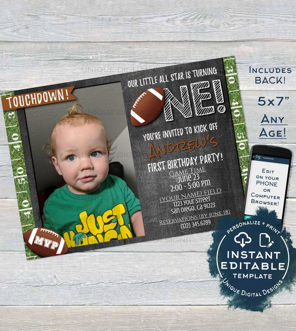 Football Birthday Invitation, Editable First Birthday Invite with photo 1st Touchdown One Footy Chalkboard Custom Printable INSTANT DOWNLOAD