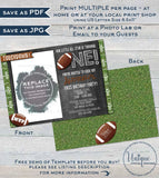 Football Birthday Invitation, Editable First Birthday Invite with photo 1st Touchdown One Footy Chalkboard Custom Printable