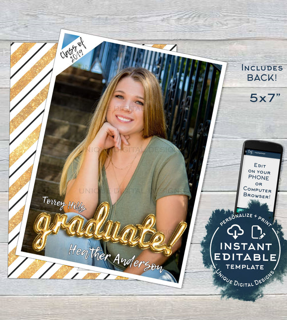Graduation Card Photo, Editable Grad Announcement Card Class of 2019 High School Graduate Personalized Custom Printable INSTANT DOWNLOAD 5x7