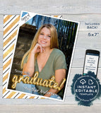 Graduation Card Photo, Editable Grad Announcement Card Class of 2019 High School Graduate Personalized Custom Printable