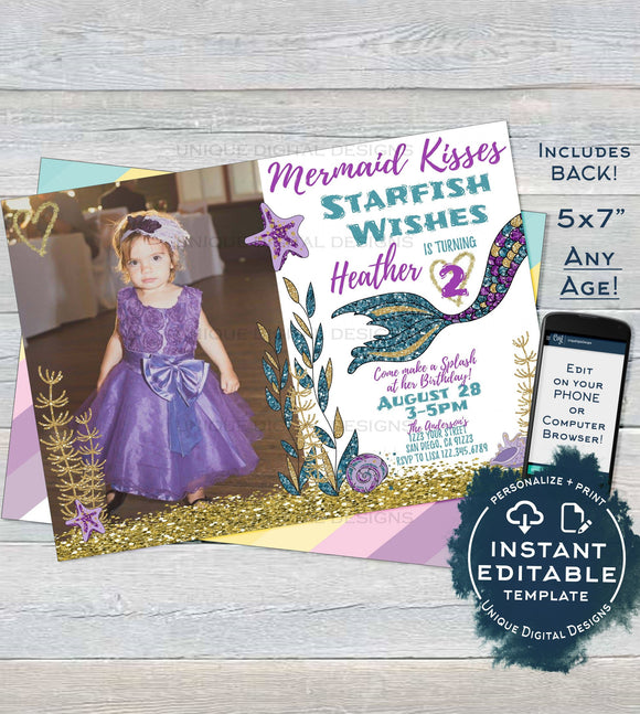 Editable Mermaid Invitation with photo, Mermaid Kisses Starfish Wishes Girls Birthday Invite, ANY Age, Printable