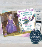 Editable Mermaid Invitation with photo, Mermaid Kisses Starfish Wishes Girls Birthday Invite, ANY Age, Printable Template INSTANT DOWNLOAD