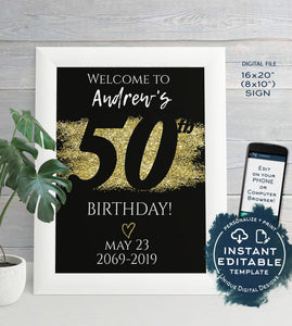 50th Birthday Welcome Sign, ANY Year, Adult Birthday Party Decoration, Black Gold Glitter diy Printable
