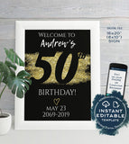 50th Birthday Welcome Sign, ANY Year, Adult Birthday Party Decoration, Black Gold Glitter diy Printable Template INSTANT EDITABLE 16x20 8x10