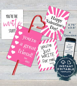 Valentine Cards, Kids Editable Valentines Day Pencil Holder Classroom, Favor Tags Printable, Just Write diy Custom
