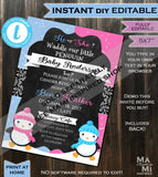 Penguin Baby Shower Invitation, Baby Boy Waddle Baby Be Baby Shower Invite, Editable Winter Baby Shower Chill Printable