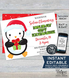 Holiday Gift Exchange Flyer, Editable Winter Invitation, Printable Penguin Invitation, Community Church School