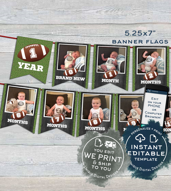 PRINTED Football Banner Template, Football First Year Photo Banner Flags, Editable Football 1st Birthday Decor, Printable INSTANT EDITABLE