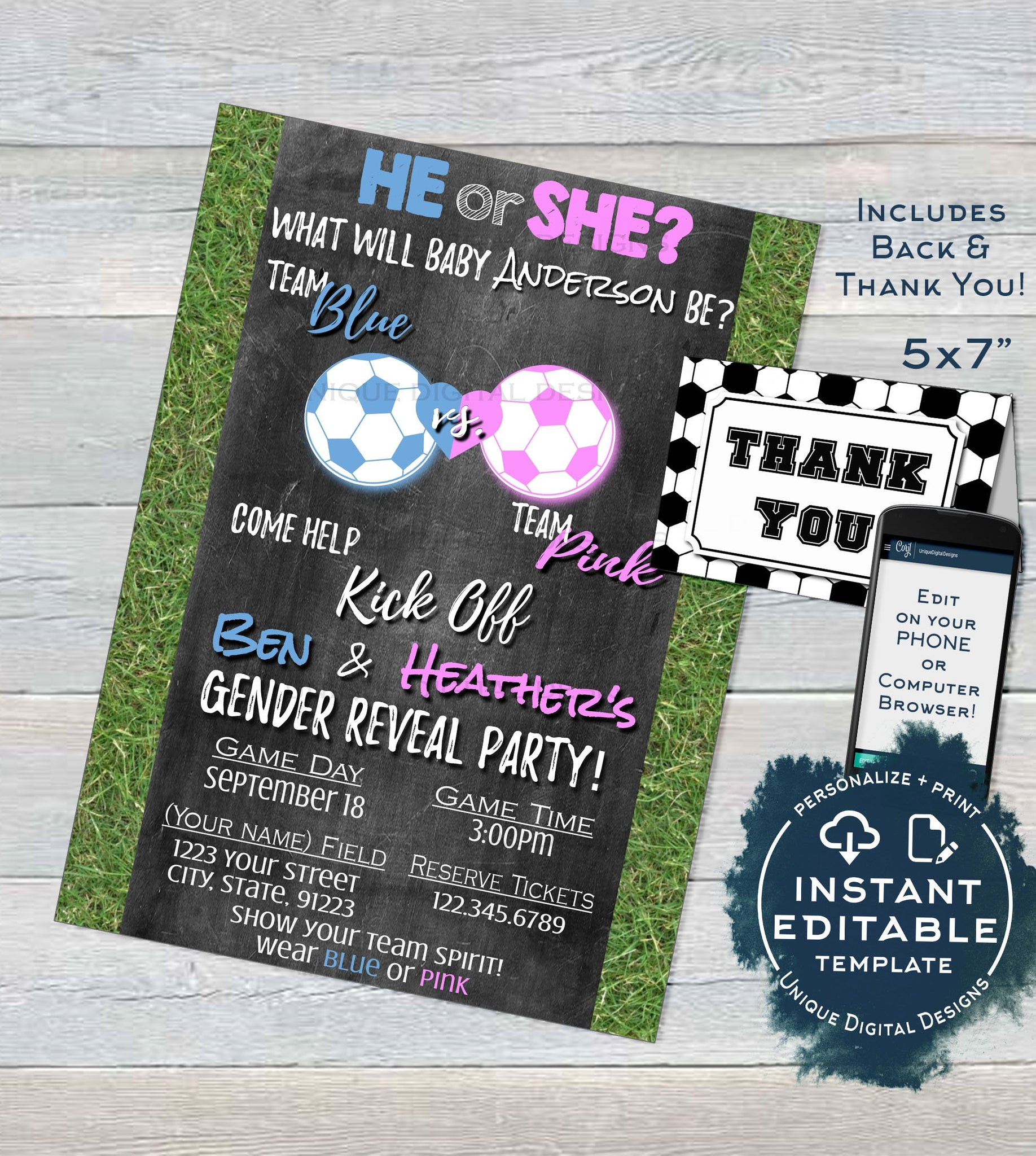graphic relating to Free Printable Gender Reveal Invitation Templates titled Football Gender Explain Invitation, Editable Youngster Shower Invite