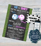 Soccer Gender Reveal Invitation, Editable Baby Shower Invite, Team He vs She, Reveal Chalkboard , DIY Custom Printable