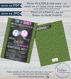 Soccer Gender Reveal Invitation, Editable Baby Shower Invite Team He vs She Reveal Chalkboard Template Custom Printable INSTANT DOWNLOAD 5x7