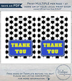 Soccer Thank You Card, Editable Soccer Party Printable Black White Sports Theme Thank you Folded Card Blank Inside