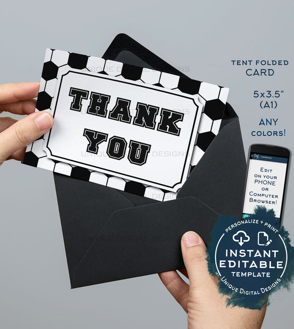 Soccer Thank You Card, Editable Soccer Party Printable Black White Sports Theme Thank you Folded Card Blank Inside Template INSTANT DOWNLOAD