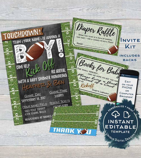 Football Baby Shower Invitation KIT, Editable Diaper Raffle Book for Baby Thank You Baby Boy Touchdown Chalkboard Printable INSTANT DOWNLOAD