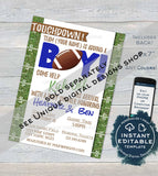 Football Baby Shower Invitation, Editable Baby Sprinkle Baby Boy Invite, Touchdown Chalkboard, Printable Thank You INSTANT DOWNLOAD 5x7 4x6
