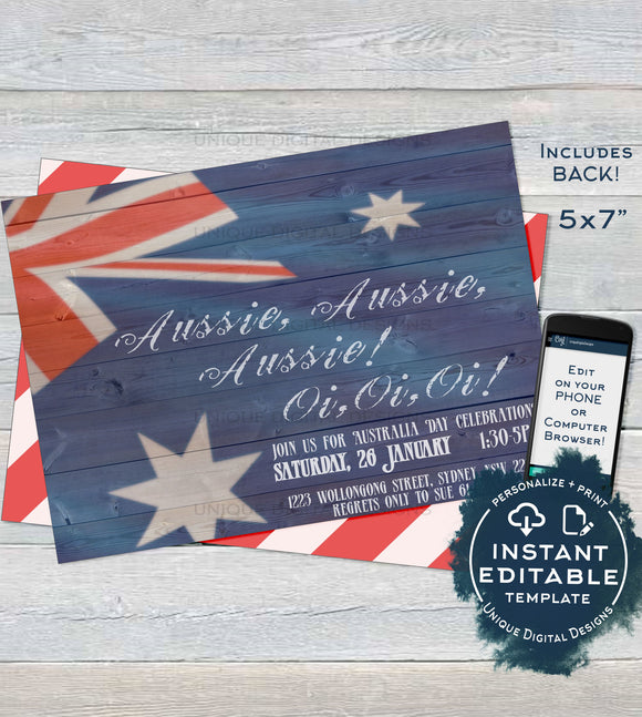 Australia Day Invitation, Editable Rustic Aussie Invite, Aussie Oi Oi 26 January Flag, Summer BBQ Party Personalize diy INSTANT DOWNLOAD 5x7