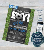 Soccer Baby Shower Invitation, Editable Baby Sprinkle Baby Boy Invite, Team Score Goal Chalkboard, Printable Thank You INSTANT DOWNLOAD 5x7