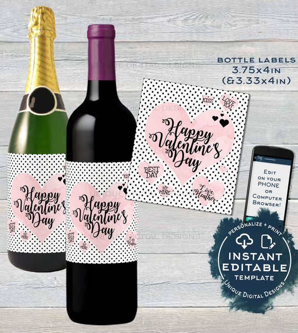 Valentines Day Wine Bottle Label, Editable Wine Label Sticker, Champagne Valentines Day Gift for Her Avery Custom Printable