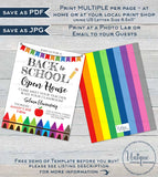 Back to School Open House Invitation Meet your Teacher PTA Invite Crayon School Flyer Digital Printable Template INSTANT EDITABLE 5x7 8.5x11