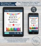 Back to School Luncheon Invitation, Editable Teacher PTA Invite, Crayon School Flyer Digital Printable Template INSTANT DOWNLOAD 5x7 8.5x11