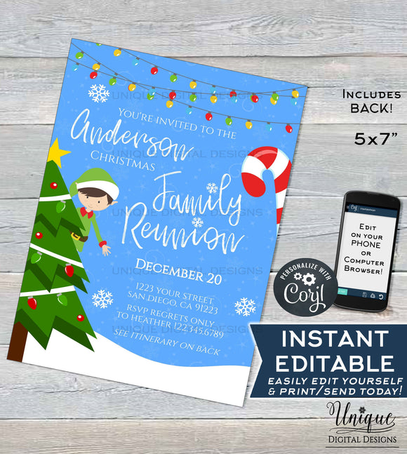 Christmas Family Reunion Invitations, Editable Annual Family Reunion Invite Family BBQ Winter Party Gathering Printable