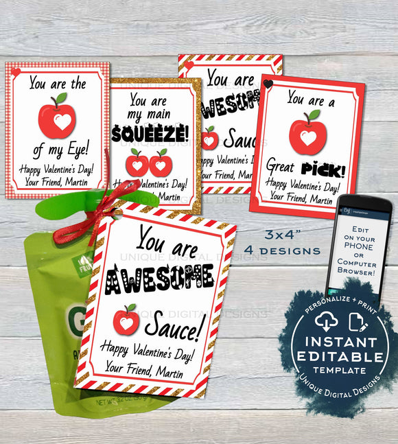 Applesauce Valentine Label Pouch Tag, Editable Valentine's Gifts for School Teacher, Personalized Digital Printable Custom INSTANT DOWNLOAD