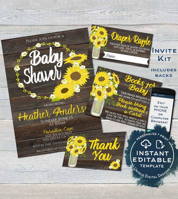 Sunflower Baby Shower Invitation KIT, Editable Diaper Raffle, Books for Baby Invite Insert Thank You Rustic Sunflower Print INSTANT DOWNLOAD